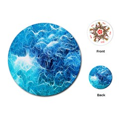 Fractal Occean Waves Artistic Background Playing Cards (Round)