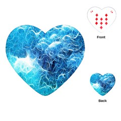 Fractal Occean Waves Artistic Background Playing Cards (Heart)