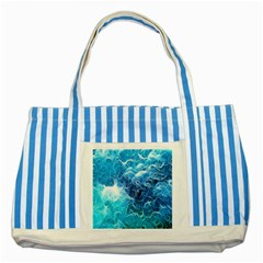 Fractal Occean Waves Artistic Background Striped Blue Tote Bag