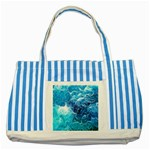 Fractal Occean Waves Artistic Background Striped Blue Tote Bag Front