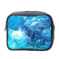 Fractal Occean Waves Artistic Background Mini Toiletries Bag 2-Side