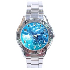 Fractal Occean Waves Artistic Background Stainless Steel Analogue Watch