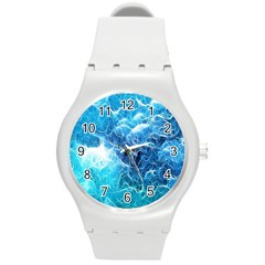 Fractal Occean Waves Artistic Background Round Plastic Sport Watch (m)