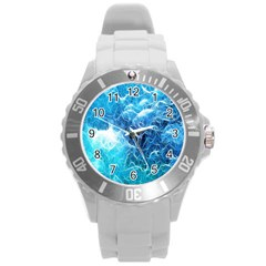 Fractal Occean Waves Artistic Background Round Plastic Sport Watch (L)