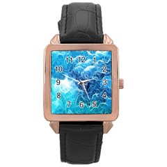 Fractal Occean Waves Artistic Background Rose Gold Leather Watch