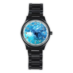 Fractal Occean Waves Artistic Background Stainless Steel Round Watch