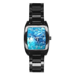 Fractal Occean Waves Artistic Background Stainless Steel Barrel Watch