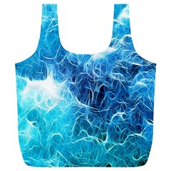 Fractal Occean Waves Artistic Background Full Print Recycle Bags (l)