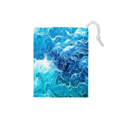 Fractal Occean Waves Artistic Background Drawstring Pouches (small)