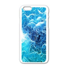 Fractal Occean Waves Artistic Background Apple iPhone 6/6S White Enamel Case