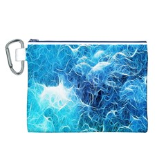 Fractal Occean Waves Artistic Background Canvas Cosmetic Bag (l)