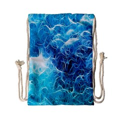 Fractal Occean Waves Artistic Background Drawstring Bag (Small)