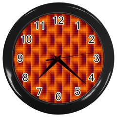 Fractal Multicolored Background Wall Clocks (Black)