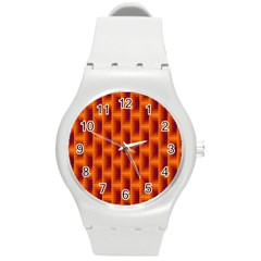 Fractal Multicolored Background Round Plastic Sport Watch (M)