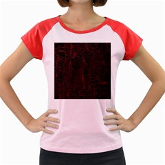 Black And Red Background Women s Cap Sleeve T Shirt