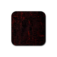 Black And Red Background Rubber Coaster (Square)