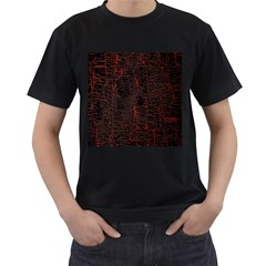 Black And Red Background Men s T Shirt (black) (two Sided)