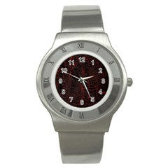 Black And Red Background Stainless Steel Watch