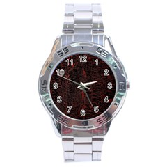 Black And Red Background Stainless Steel Analogue Watch