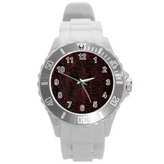 Black And Red Background Round Plastic Sport Watch (l)
