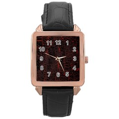 Black And Red Background Rose Gold Leather Watch