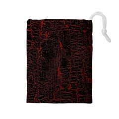 Black And Red Background Drawstring Pouches (large)