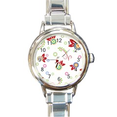 Colorful Floral Wallpaper Background Pattern Round Italian Charm Watch