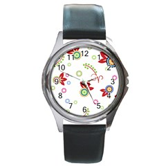 Colorful Floral Wallpaper Background Pattern Round Metal Watch