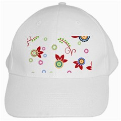 Colorful Floral Wallpaper Background Pattern White Cap