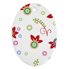 Colorful Floral Wallpaper Background Pattern Ornament (oval)