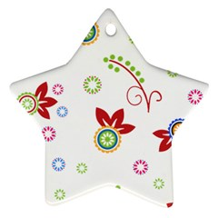 Colorful Floral Wallpaper Background Pattern Ornament (star)