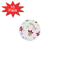 Colorful Floral Wallpaper Background Pattern 1  Mini Buttons (10 Pack)