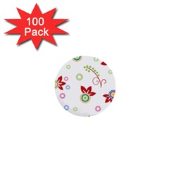 Colorful Floral Wallpaper Background Pattern 1  Mini Buttons (100 Pack)