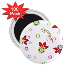 Colorful Floral Wallpaper Background Pattern 2 25  Magnets (100 Pack)