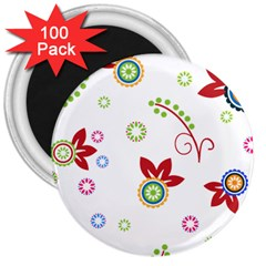 Colorful Floral Wallpaper Background Pattern 3  Magnets (100 Pack)