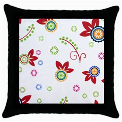 Colorful Floral Wallpaper Background Pattern Throw Pillow Case (black)