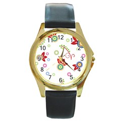 Colorful Floral Wallpaper Background Pattern Round Gold Metal Watch