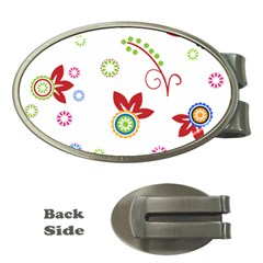 Colorful Floral Wallpaper Background Pattern Money Clips (Oval)