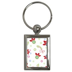 Colorful Floral Wallpaper Background Pattern Key Chains (rectangle)
