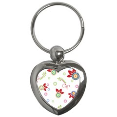 Colorful Floral Wallpaper Background Pattern Key Chains (heart)