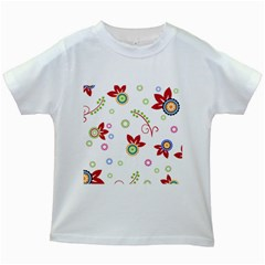 Colorful Floral Wallpaper Background Pattern Kids White T Shirts