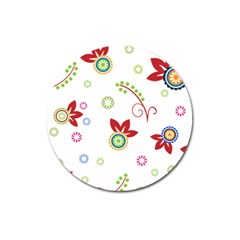 Colorful Floral Wallpaper Background Pattern Magnet 3  (round)