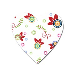 Colorful Floral Wallpaper Background Pattern Heart Magnet