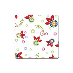 Colorful Floral Wallpaper Background Pattern Square Magnet