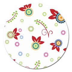 Colorful Floral Wallpaper Background Pattern Magnet 5  (round)