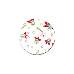Colorful Floral Wallpaper Background Pattern Golf Ball Marker