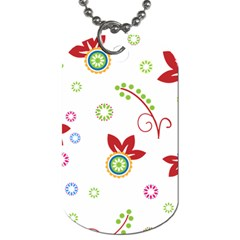 Colorful Floral Wallpaper Background Pattern Dog Tag (two Sides)