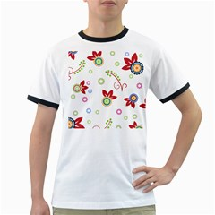 Colorful Floral Wallpaper Background Pattern Ringer T Shirts