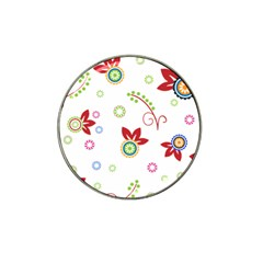 Colorful Floral Wallpaper Background Pattern Hat Clip Ball Marker (4 Pack)