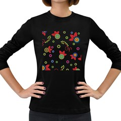 Colorful Floral Wallpaper Background Pattern Women s Long Sleeve Dark T Shirts